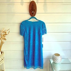 Short Sleeve Lace Mini Dress; Turquoise